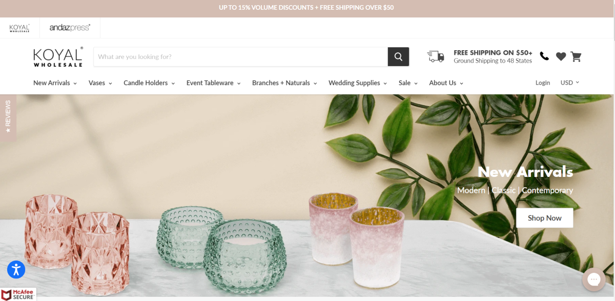 Image is a screenshot taken from KoyalWholesale.com showing some of the decorative candle holders they have that are suited to weddings