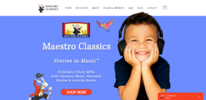 This a screenshot taken from the MeastroClassics.com website showing they provide Stories in Music for kids to learn with classical music lessons that's combined with story narration.