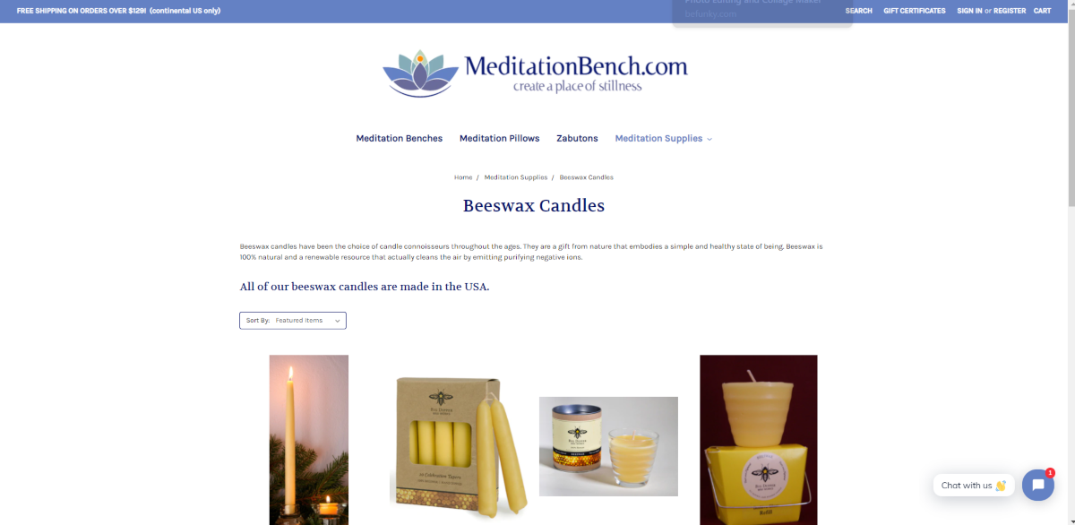 The image is a screenshot taken from the MeditationBench.com website showing the beeswax candles category that has a few different styles of natural beeswax candles