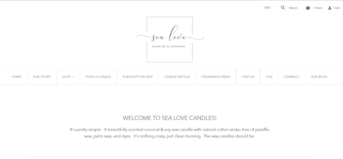 Image is a screenshot taken from SeaLoveCandles.com that shows they have fragranced candles and candle refills available.