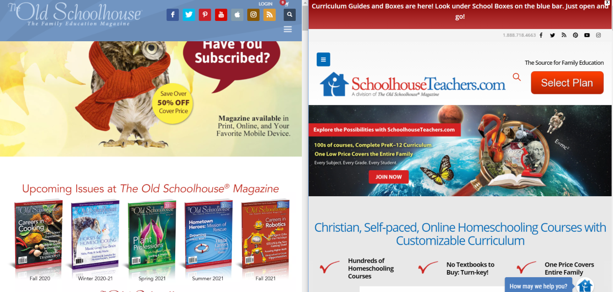 This is a screenshot showing the home pages of SchoolhouseTeachers.com and TheOldSchoolHouse.com, both of which are resources for parents and teachers to find curriculum materials to teach their children about various topics to curriculum standards.