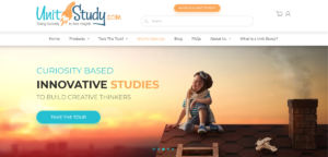 "This is a screenshot taken from the UnitStudy.com website showing they provide curiosity based study units on a variety of topics to ""build creative thinkers""."