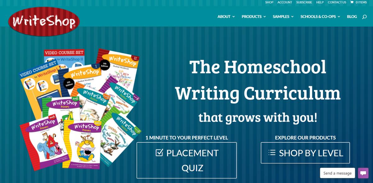 This is a screenshot taken from the WriteShop.com website showing they provide writing homeschool curriculum for all ages.